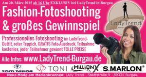 Zeitungsanzeige Modeopening Burgau 20. 3. Schwabenecho, Günzburger Zeitung